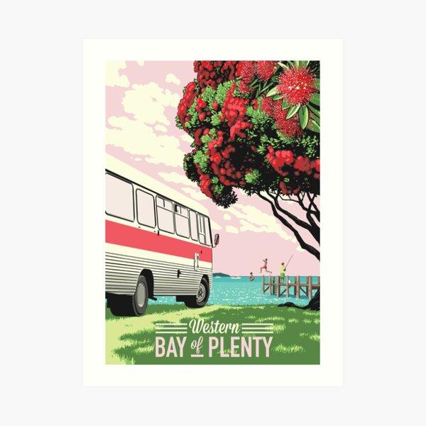 Bedford Bus + Pohutukawa Art Print