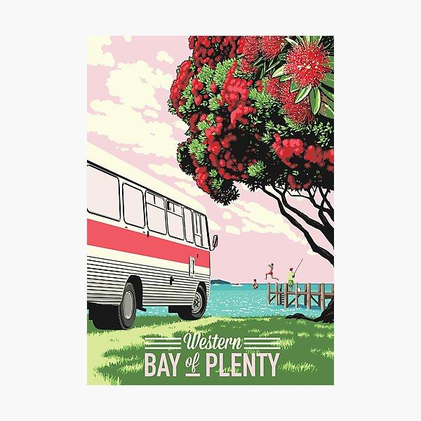 Bedford Bus + Pohutukawa Photographic Print