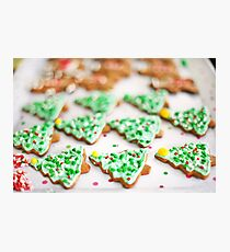 Frosted Christmas Tree Cookies with Sprinkles Photographic Print