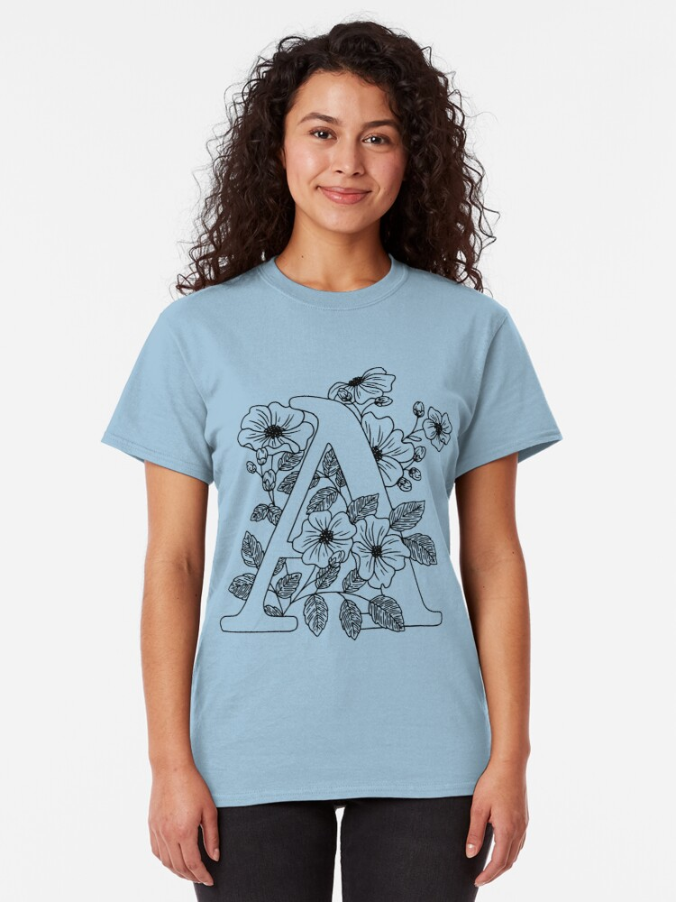 Alternate view of Floral letter A Classic T-Shirt