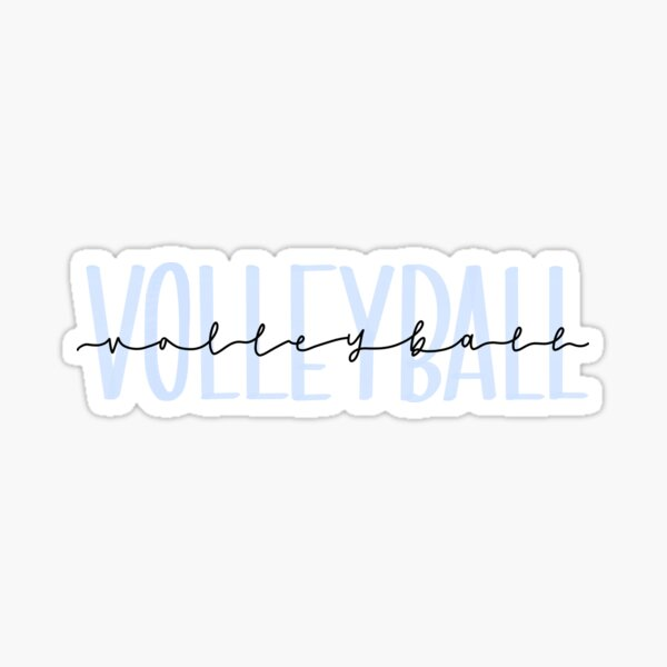 Pastel Blue Handlettered Volleyball Sticker