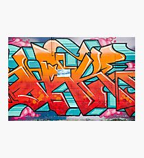 Colorful Abstract Graffiti detail on the textured wall Photographic Print