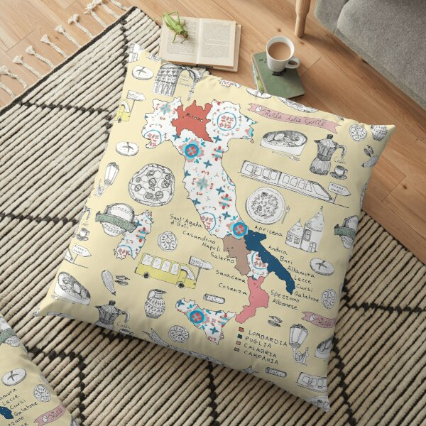 Illustrated Italy Foodie Map Floor Pillow