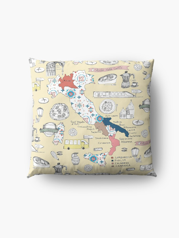Alternate view of Illustrated Italy Foodie Map Floor Pillow