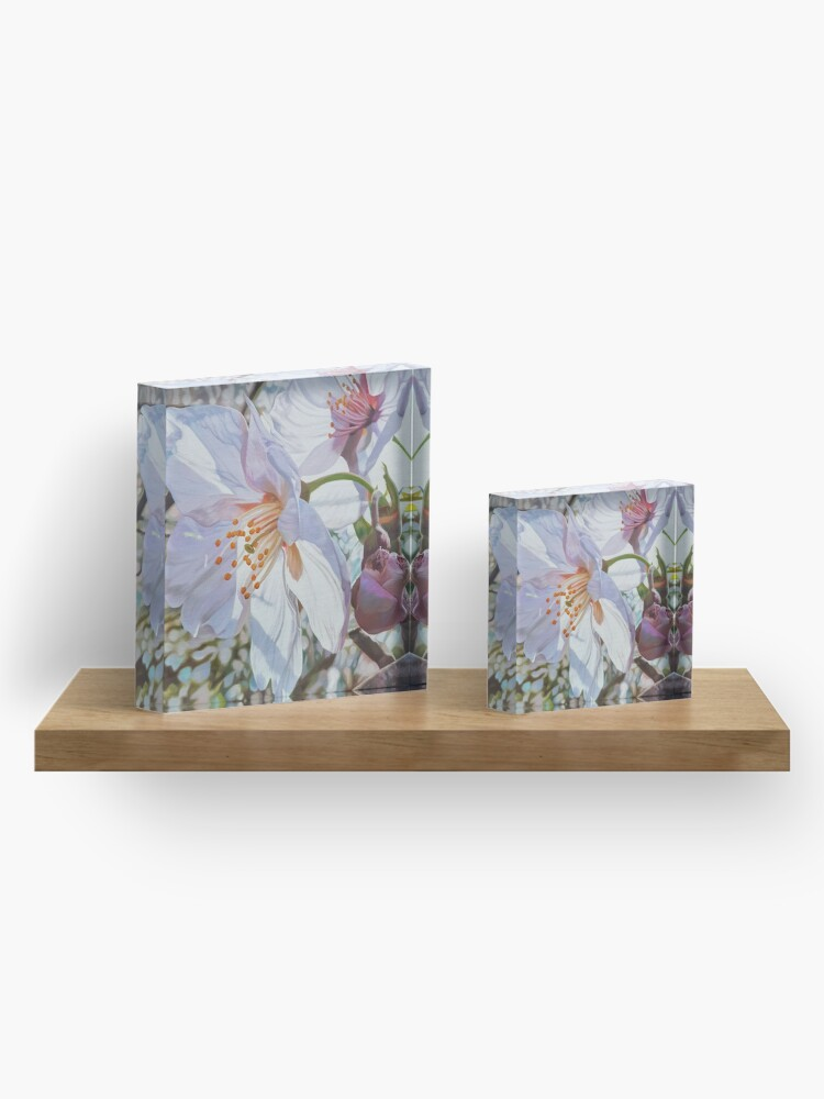 Alternate view of Sparks - spring cherry blossom painting Acrylic Block
