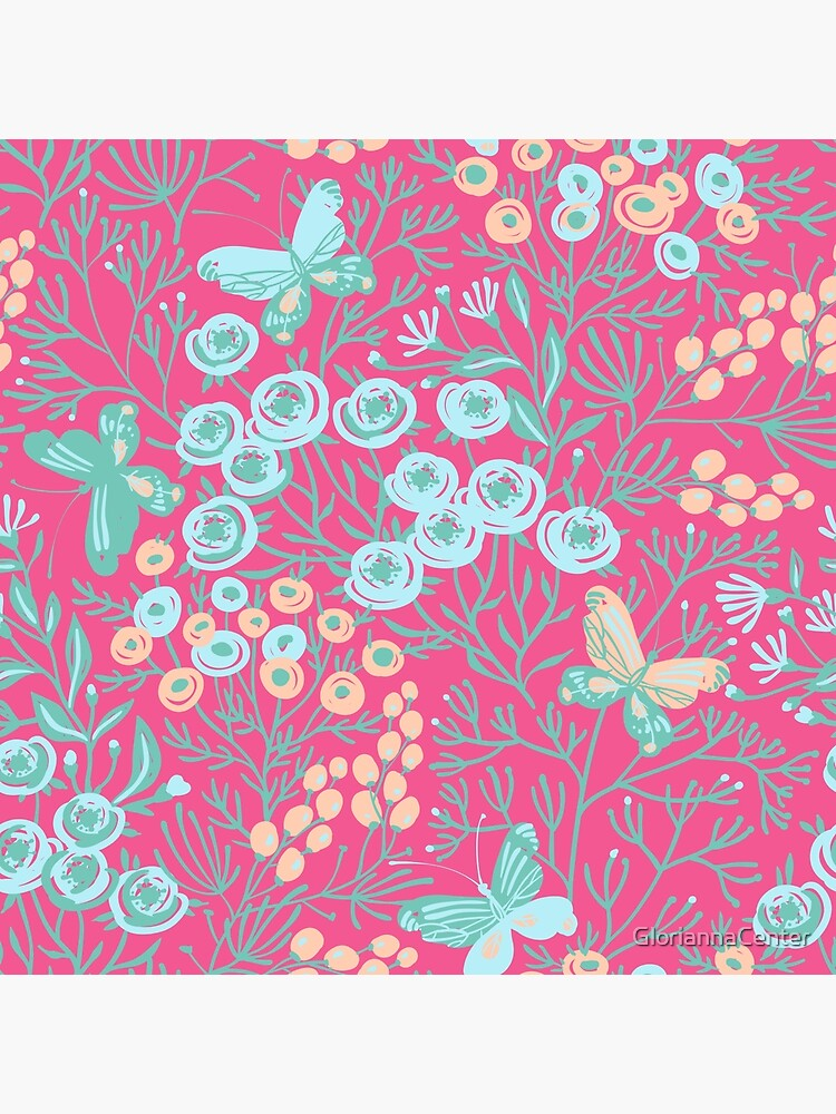 Pastel butterfly, roses and leaves pattern by GloriannaCenter