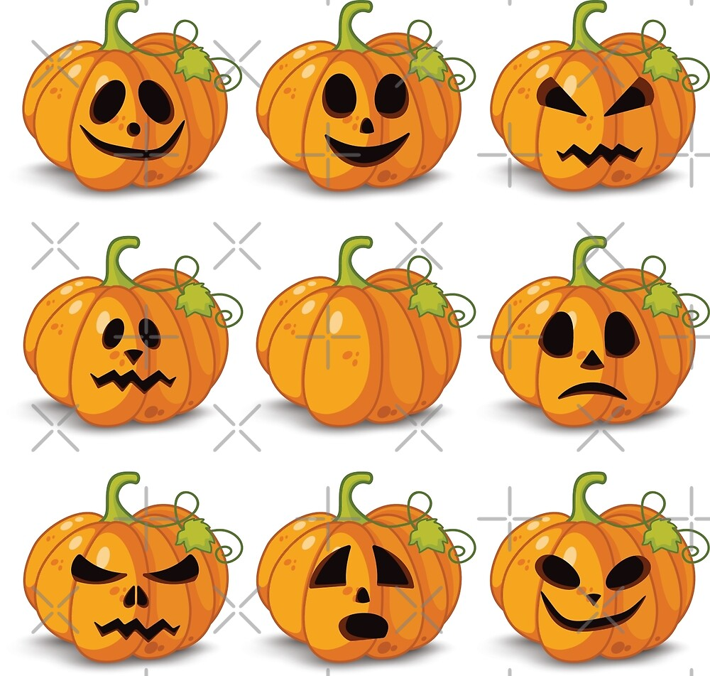 Orange stylized Jack O' Lanterns for Halloween or whenever by cartoon