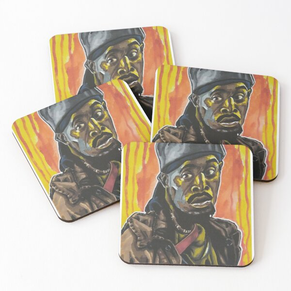 """The Wire - """"Man Got To Have A Code"""" Omar Little portrait (original) Coasters (Set of 4)"""