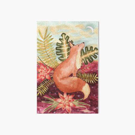Tropical Fox Watercolor  Art Board Print