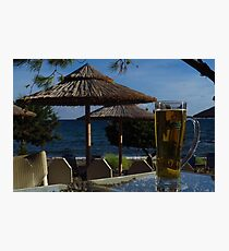 Beach Umbrellas & Mythos Beer Photographic Print