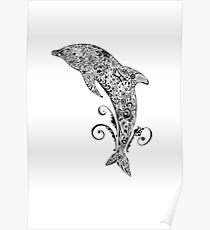 Dolphin Doodle Poster