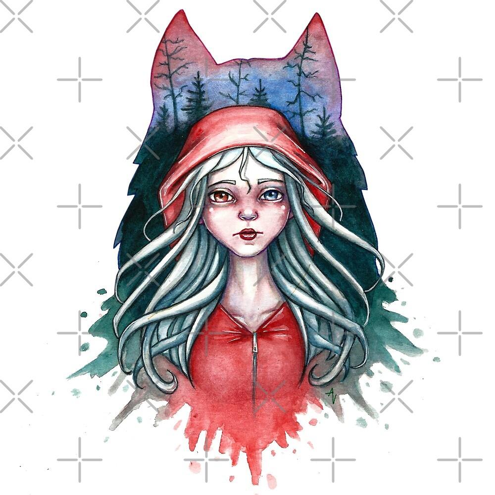 Red Riding Hood in the woods by AV-art