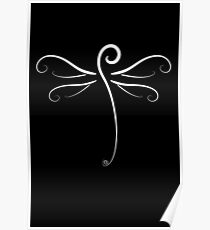Swirly Dragonfly Tee (for dark Tee's) Poster