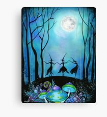 Lienzo Brujas bailando bajo la luna