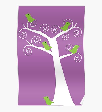 5 green birds and a tree (purple background) Poster