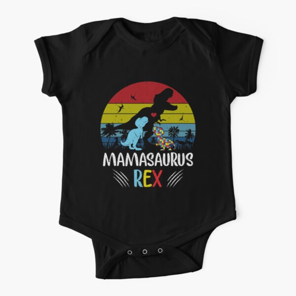 Funny Matching Vintage Mamasaurus Autism Kid Shirt Family Awareness Warrior T Shirt Short Sleeve Baby One-Piece