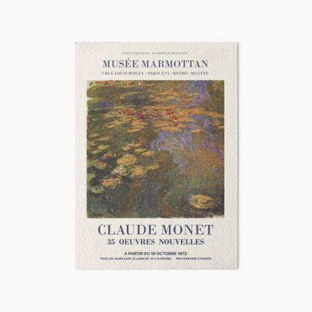"Claude Monet - Exhibition poster advertising an art exhibition ""35 Oeuvres Nouvelles"", 1975 Art Board Print"