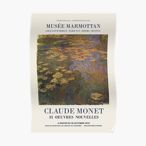 "Claude Monet - Exhibition poster advertising an art exhibition ""35 Oeuvres Nouvelles"", 1975 Poster"