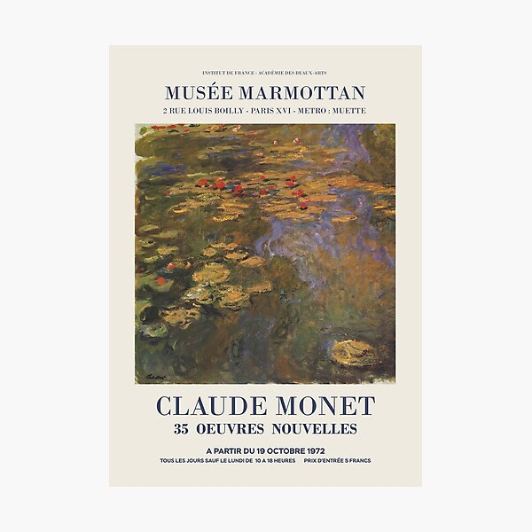 "Claude Monet - Exhibition poster advertising an art exhibition ""35 Oeuvres Nouvelles"", 1975 Photographic Print"