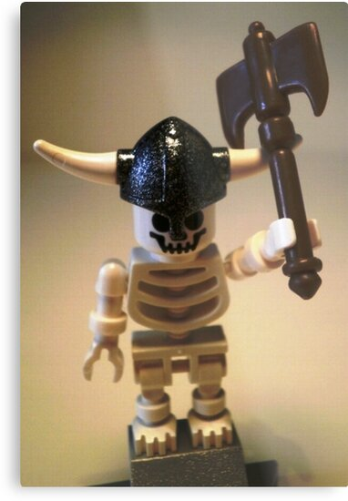 White Skeleton Viking and Custom Axe, Custom Minifigure by Customize My Minifig