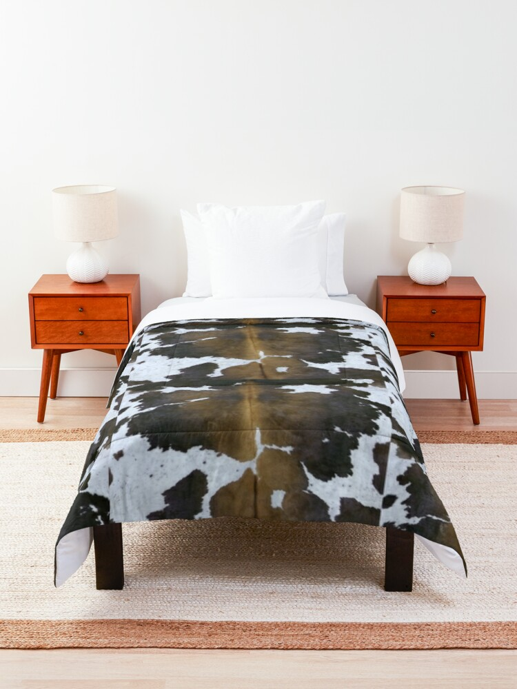 Alternate view of Cowhide  Patchwork Tan and White | Texture  Comforter