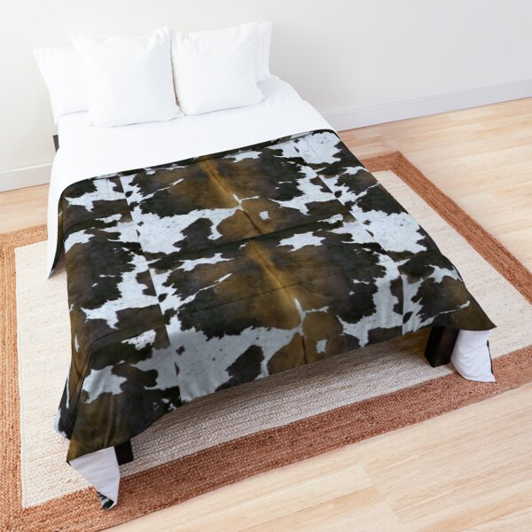Cowhide  Patchwork Tan and White | Texture  Comforter