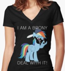 Rainbow Dash Brony Women's Fitted V-Neck T-Shirt