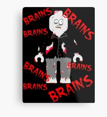 A LOT OF BRAINS - ZOMBIE MINIFIG Metal Print
