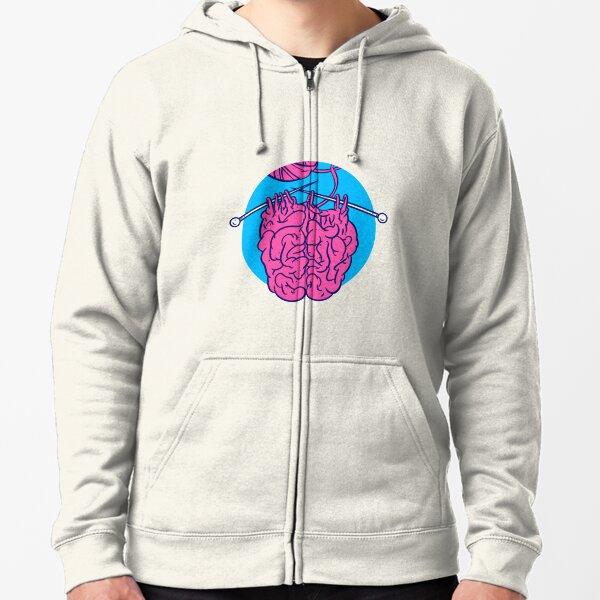 Knitting a brain Zipped Hoodie