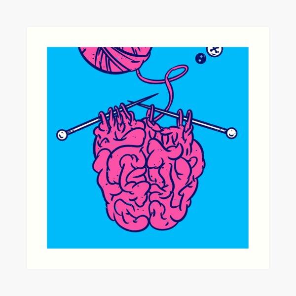 Knitting a brain Art Print