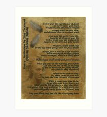 """""""Live Your Life""""  on old parchment, Chief Tecumseh Art Print"""
