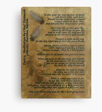 """Live Your Life""  on old parchment, Chief Tecumseh Metal Print"