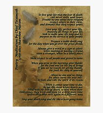 """Live Your Life""  on old parchment, Chief Tecumseh Photographic Print"