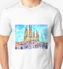 Sagrada Famila in Barcelona with Blue Sky Unisex T-Shirt