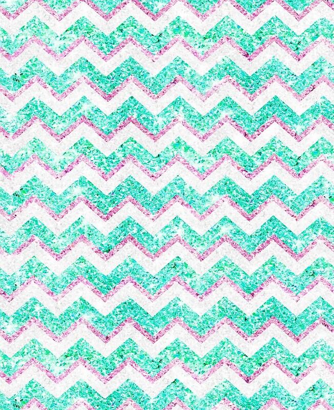 Chevron Girly Glitter Pattern Pink Stylish Teal