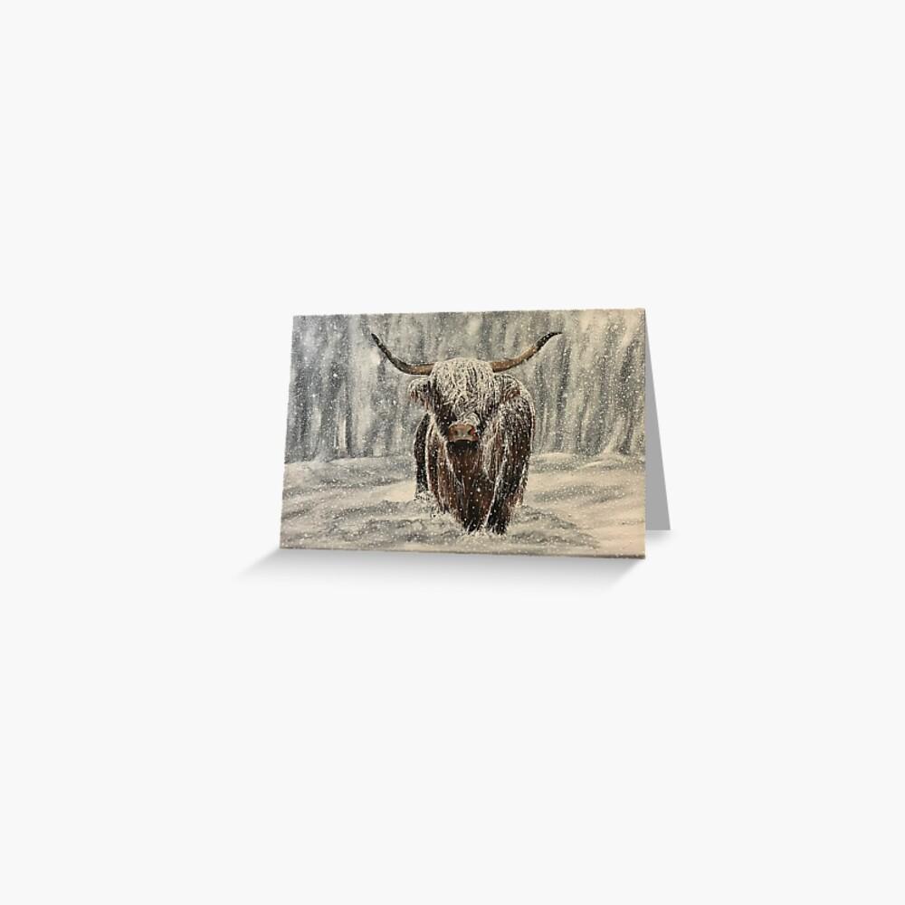 Snowy Highland Cow - Blank Greeting Card Greeting Card