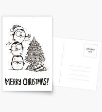 1 Christmas Tree, 3 Fat Penguins Postcards