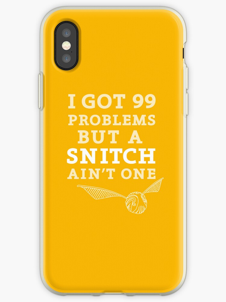 '99 Problems But A Snitch Ain't One - Yellow' iPhone Case by flyingpantaloon