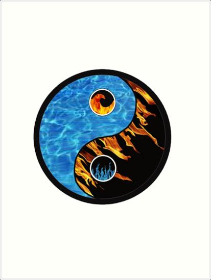 Fire And Water Yin Yang Symbol Art Prints By Eucalyptusbear Redbubble