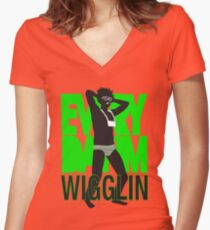 Every Day I'm Wigglin Women's Fitted V-Neck T-Shirt