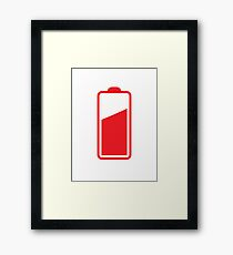 Battery half full in RED  Framed Print