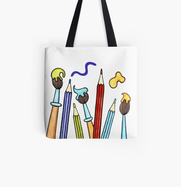 Pencils and Paintbrushes Pattern 1 All Over Print Tote Bag