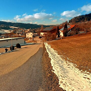 Country road in winter village scenery | landscape photography by patrickjobst