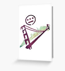 Stencil Golden Gate San Francisco Outline Greeting Card