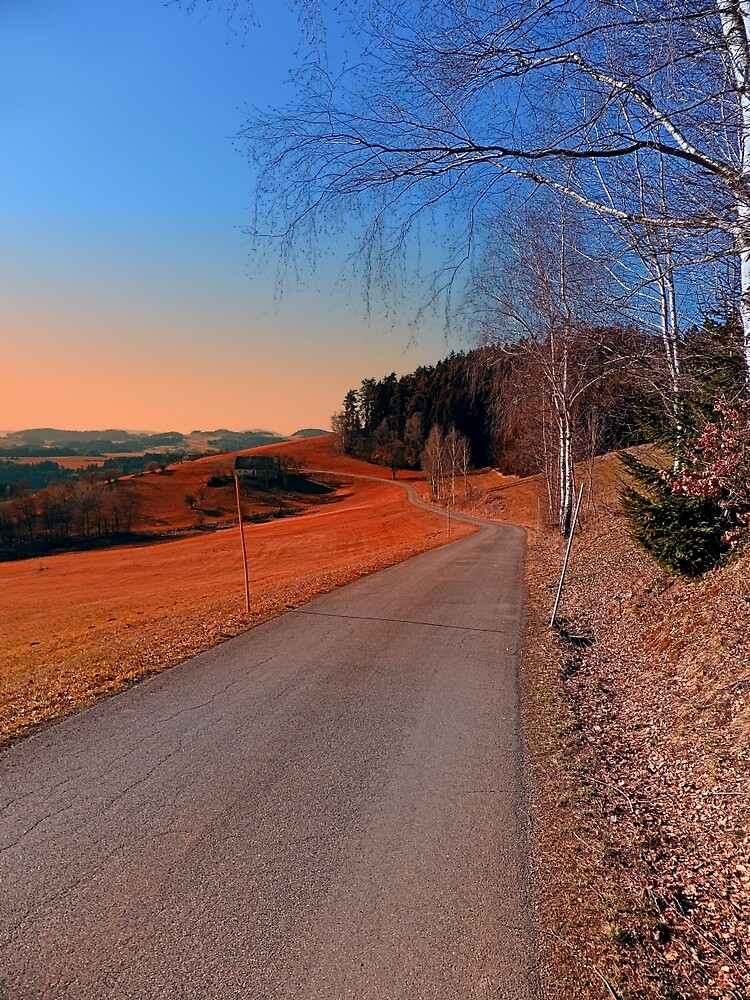 Country road into a beautiful sunset at Auberg   landscape photography by Patrick Jobst