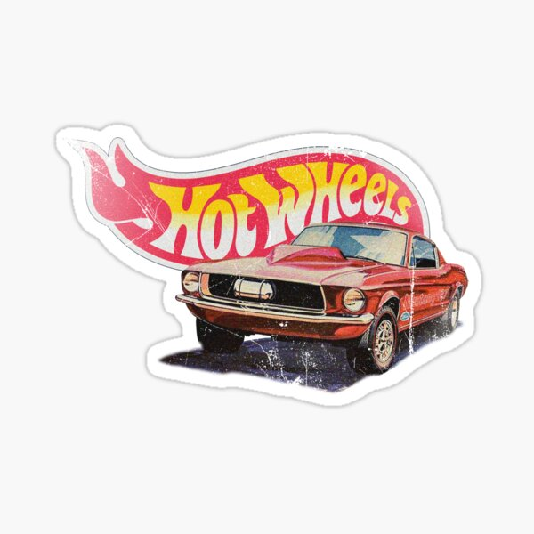 Mustang - 1968 Custom - Vintage, Distressed Hot Wheels 1968 Custom - Ligne rouge Sticker