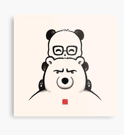 Panda And Polar Bear Metal Print