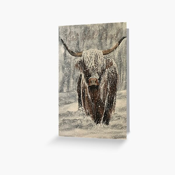 Snowy Highland Cow - Get Well Soon Card Greeting Card