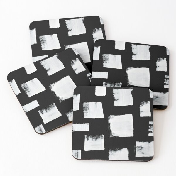 Marshmallows: a minimal abstract black and white square mudcloth pattern by Alyssa Hamilton Art Coasters (Set of 4)