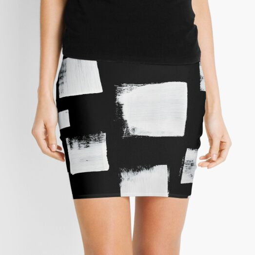 Marshmallows: a minimal abstract black and white square mudcloth pattern by Alyssa Hamilton Art Mini Skirt